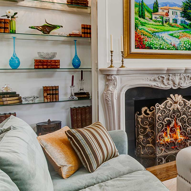 living room fire place home decor